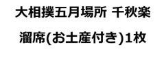 大相撲五月場所 5/28(日)千秋楽溜席セット(お土産・パンフレット付き)1枚