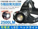 1円~5段階点灯CREE社製XM-L2チップ搭載 ホワイト L2充電式 2500lm LEDヘッドライトZoom 18650リチウムオン充電池2本付き 1年保証