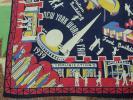 1939 NYワールドフェア/30s スカーフ 紺 ネイビー★ビンテージ アンティーク 40s50s ニューヨーク バンダナ ハンカチ レーヨン USA 古着