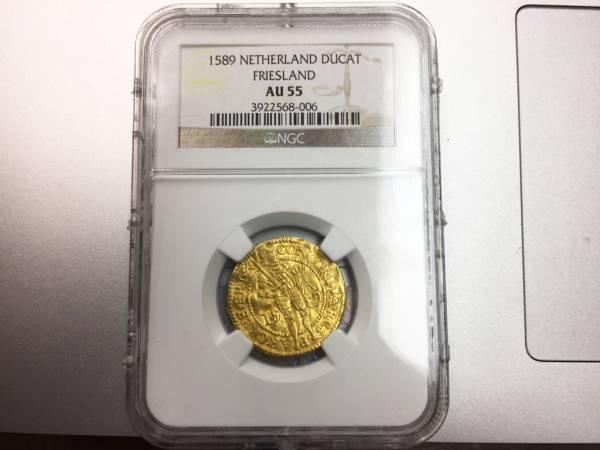 オランダ フリースラント ダカット金貨 NGC 1589年 AU55 コイン 送料無料
