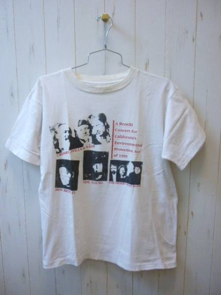 Benefit Concert 1990 Vintage Tシャツ-White/L Crosby,Stills & Nash/Don Henley/Neil Young/The Desert Rose Band