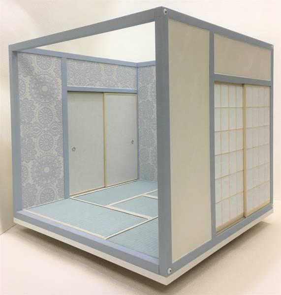 ドールハウス 1/6 畳部屋 組立式 水色キュートファンシー日本間 和室 和風 ブライス momoko リカちゃんバービーのミニチュア人形装飾撮影等