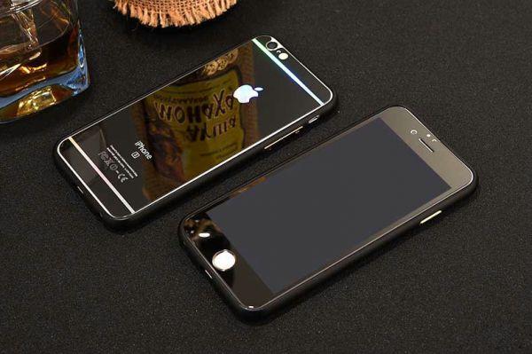 iPhone6 / iPhone6s / iPhone6 PLUS / iPhone6sPLUS / iPhone7 / iPhone7PLUS アルミバンパー 鏡面 両面 強化ガラス フィルムセット 6色