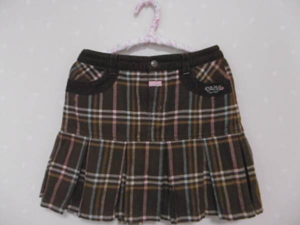 ● デイジーラバーズ ● 可愛いチェック柄裾プリーツコットンスカート ☆S140㎝☆茶_画像1