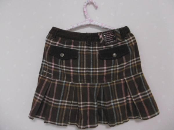 ● デイジーラバーズ ● 可愛いチェック柄裾プリーツコットンスカート ☆S140㎝☆茶_画像2