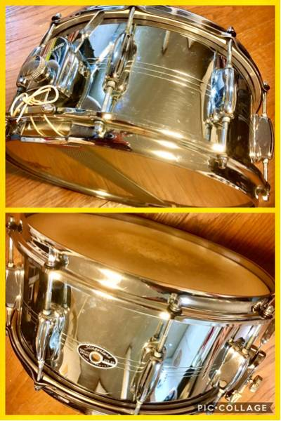 "Slingerland サウンドキング クロムオーバーブラス スネア 14""×6.5"" Sound King Chrome Over Brass Snare 高橋幸宏さん使用"