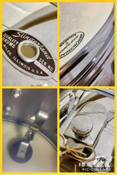 "Slingerland サウンドキング クロムオーバーブラス スネア 14""×6.5"" Sound King Chrome Over Brass Snare 高橋幸宏さん使用_画像2"