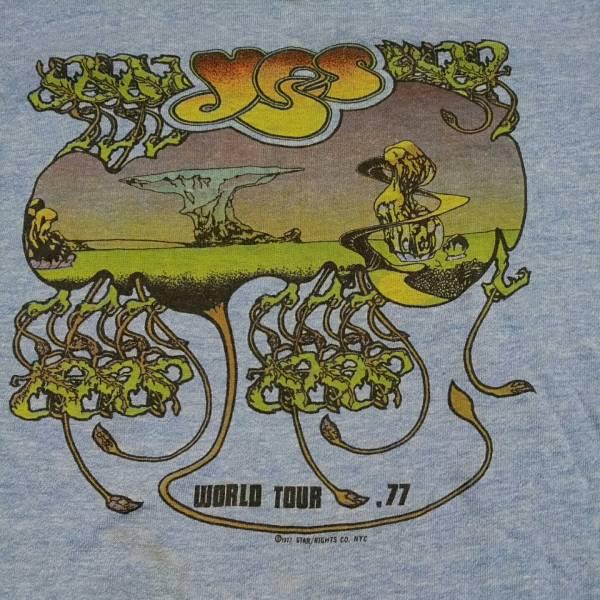 77年 YES イエス ビンテージ リンガー Tシャツ 染み込みプリント コピーライト有