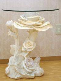 特価!ロココ調アンティーク調ホワイトローズ薔薇のシルバーゴールドライン彫刻型置物ガラステーブルコーヒーテーブル花台フラワーラック
