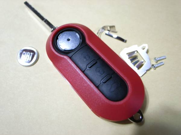新品! フィアット500 パンダ プント リモコンキー キーケース キーカバー 赤 Fiat 500 Panda Punto Bravo_画像1