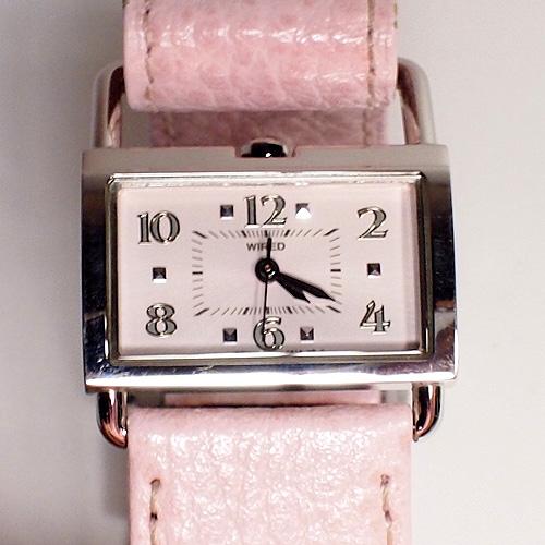 電池交換済 美品 SEIKO セイコー WIRED ワイアード レディース クォーツ 時計 ピンク文字盤 ピンク革ベルト