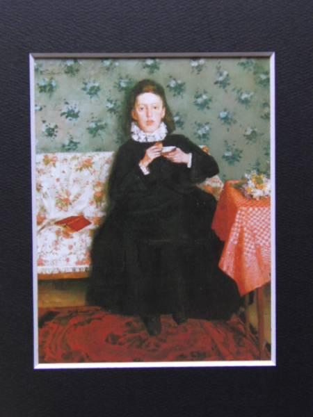 ヴィルヘルム・トリューブナー、ソファに座る少女、19世紀外国巨匠作家、新品高級額装付、合わせ厚手マット付