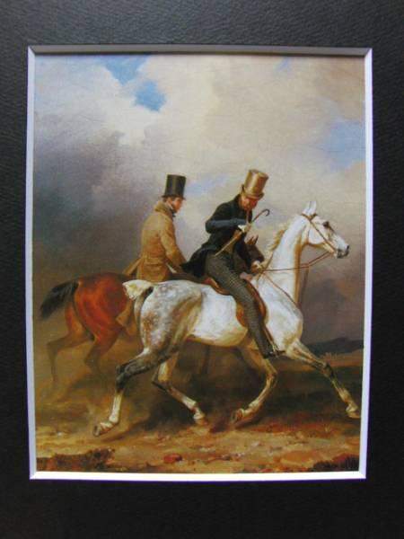 F・クリューガー、画家を連れて遠乗りに出るヴィルヘルム王子、19世紀外国巨匠作家、新品高級額装付、合わせ厚手マット付
