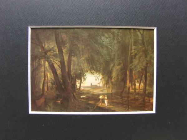 カール・ブレッヒェン、シュパンダウの森の道、19世紀外国巨匠作家、新品高級額装付、合わせ厚手マット付