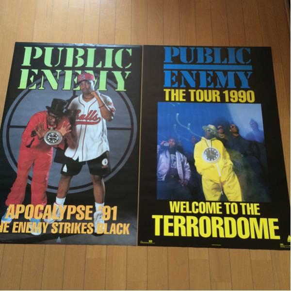希少90s PUBLIC ENEMY TOUR ポスター 2枚 パブリックエネミー TOMMYBOY JUNKMANIA HIPHOP OLDSCHOOL