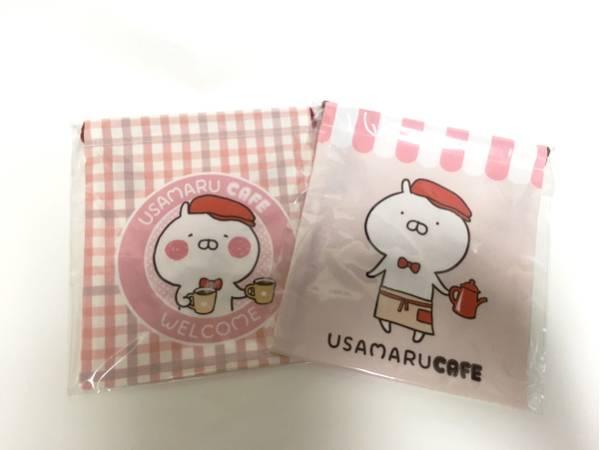 【うさまるカフェ限定】うさまる巾着(チェック)2枚セット グッズの画像