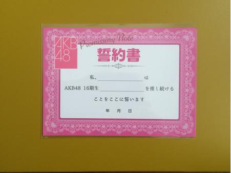 AKB48 16期生 コンサート 誓約書 未使用 TDCホール ライブ・総選挙グッズの画像