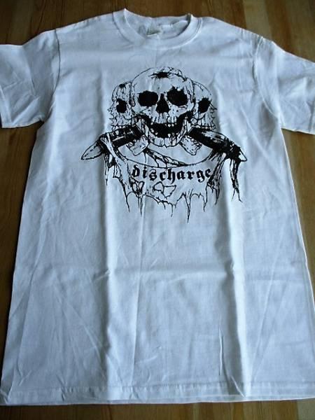 DISCHARGE Tシャツ skull 白S / chaos uk disorder doom amebix concrete sox