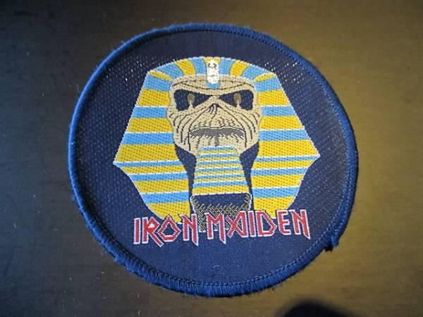 IRON MAIDEN 丸形刺繍パッチ ワッペン powerslave デッドストック ヴィンテージ / metallica slayer saxon motorhead judas priest