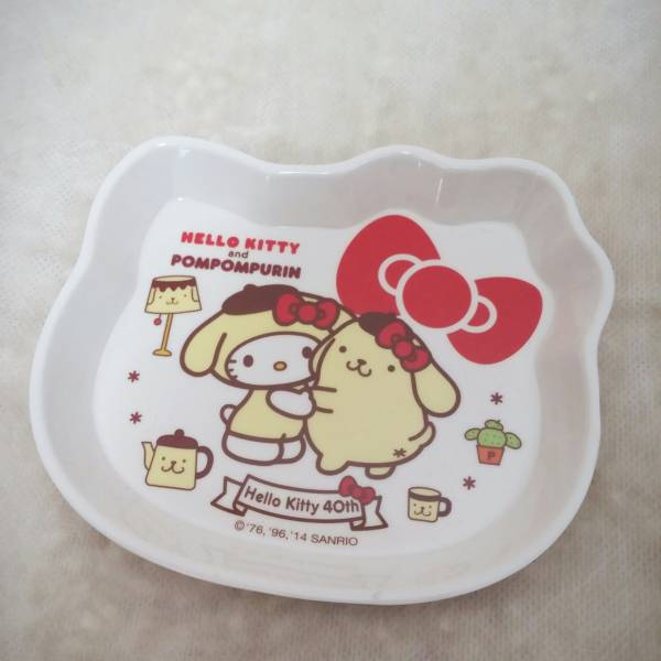《未使用品》ハローキティ40周年&ポムポムプリンメラミン小皿 サンリオ グッズの画像