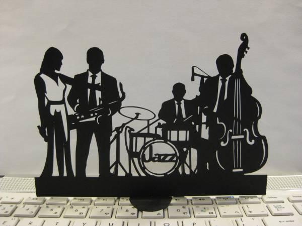 立つ切り絵 ジャズバンド、シンガー共 壁飾りにも