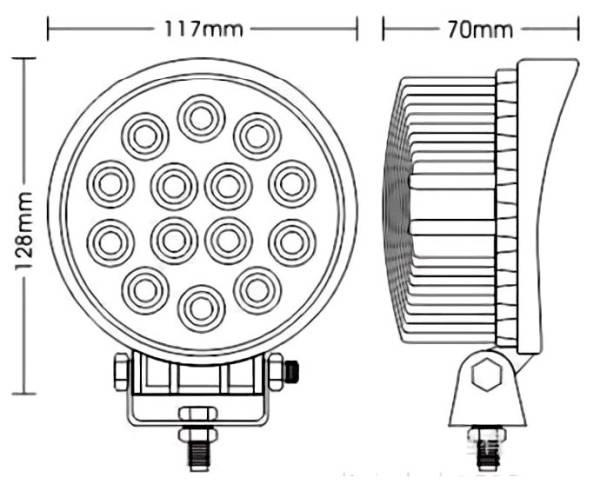 「グレードアップ 42w×2点セット 広角 3w×14連 12v-24V兼用 3200 lm LED ワークライト 作業灯 農業 建設 機械 船舶 トラック用品 車外灯用」の画像2