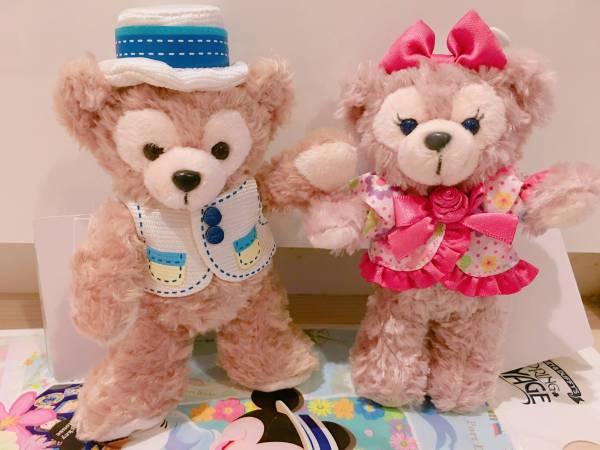 新品 2014東京TDS限定 スプリング ダッフィー&メイ ぬいぐるみバッジ ディズニーグッズの画像