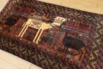 ビンテージ☆動物柄トライバルラグ☆アフガニスタン☆オールド手織り絨毯☆らくだ☆80x140cm/GH19