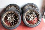 1円スタートRAYSレイズボルクレーシング18インチ鍛造ホイールSE37A100-5H7.5J+48 215/40/18ナンカンNS-2タイヤつきレガシィプリウスに