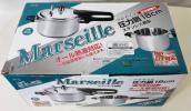 ■新品 未使用 18cm 3リットル 圧力鍋 Marseille マルセイユ IH対応 ステンレス鋼 クロム18% 底厚1.2mm 安全装置付