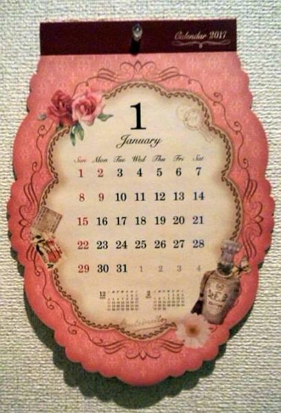 【即決】カレンダー2017★アンティークガーリー★壁掛けダイカット_画像1