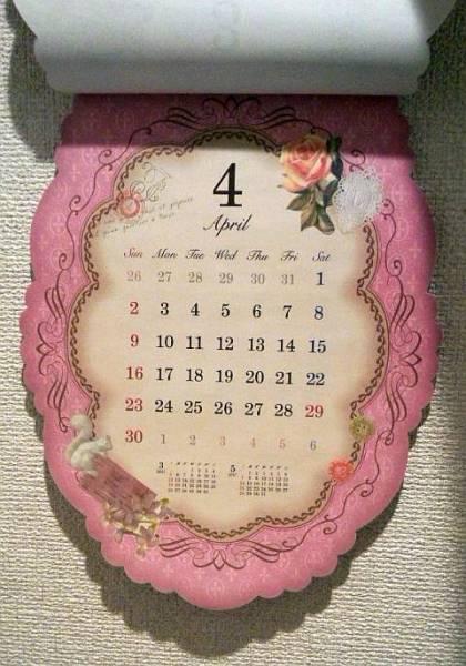 【即決】カレンダー2017★アンティークガーリー★壁掛けダイカット_画像2