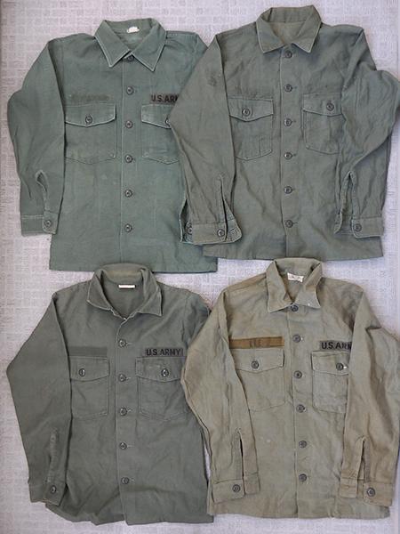 刺繍入りミリタリー・ユーティリティシャツ×4枚セット/スカシャツ/ベトシャツ/スーベニア/中古_画像2