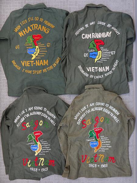 刺繍入りミリタリー・ユーティリティシャツ×4枚セット/スカシャツ/ベトシャツ/スーベニア/中古