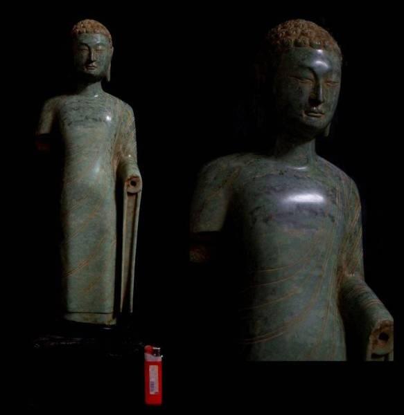 唐物仏像 北斉時代 釈迦如来立像 緑壁玉石 古代仏教美術