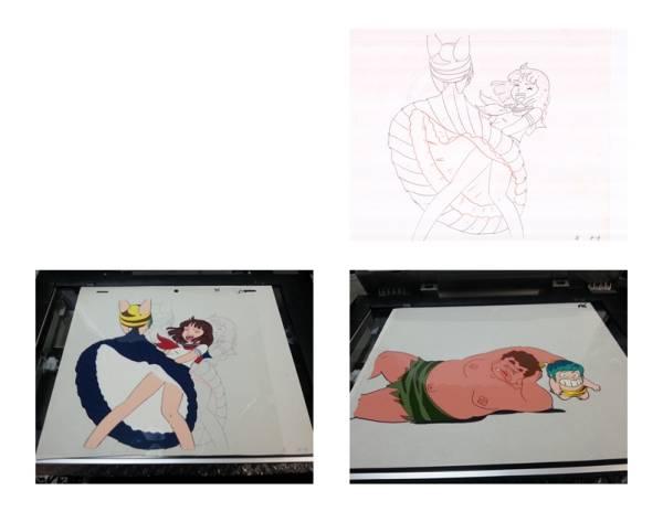 貴重お宝出品!アニメセル画「うる星やつら」 しのぶ テンのスカートめくり姿 。初期のTV版 しのぶの太ももは、貴重ですよ。2点セット_画像3