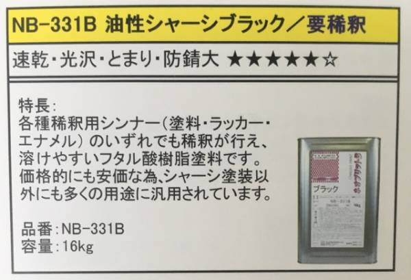シャーシブラック「ネオブリット NB-331B 16㎏」セントラル産業_画像2