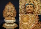 興趣, 文化 - 木彫・仏像 【樟材彩色切金仕上大日如来像】 大型115cm 二重火炎光背 八角台座