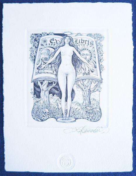 蒲地清爾版画 蔵書票k 銅板画 サイン