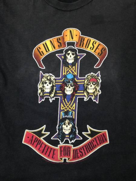 ガンズ & ローゼズ GUNS&ROSES Tシャツ 黒 ブラック S ヤケ 色落ち ロック バンド アクセル スラッシュ スカル ドクロ 十字架
