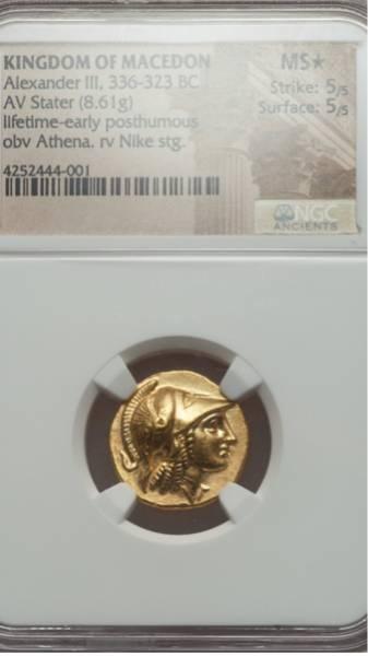 古代ギリシャ金貨 MS★ 紀元前330年~320年 アレキサンダー大王_画像1
