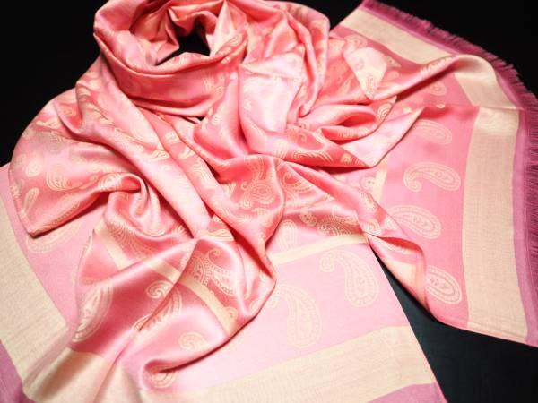 極上 シルク 100% SILK ストール スカーフ 薄手 ハイクオリティ HIGH QUALITY SILK ペイズリー PINK ピンク ベージュ_画像2