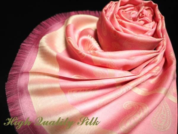 極上 シルク 100% SILK ストール スカーフ 薄手 ハイクオリティ HIGH QUALITY SILK ペイズリー PINK ピンク ベージュ
