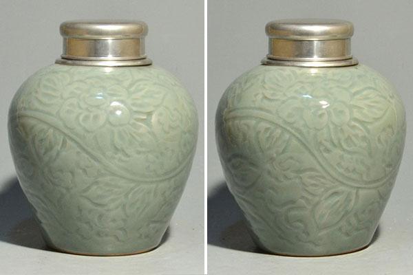 青磁 牡丹唐草彫入り 大茶壷 錫で口造り 茶心壷 中国古玩 煎茶道具  a8856_画像2