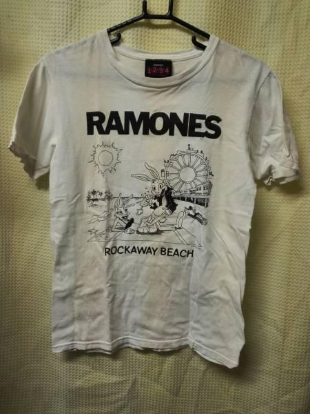 04バンドTシャツ ラモーンズ S ロッカウェイビーチ 白