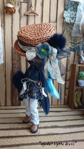 *ayudoll blythe dress*「ネイビードレスセット」カンカン帽 ワンピース サロペット 濃紺 ホワイト
