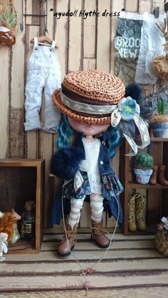*ayudoll blythe dress*「ネイビードレスセット」カンカン帽 ワンピース サロペット 濃紺 ホワイト_画像2