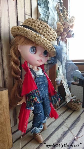 *ayudoll blythe dress*「レッドドレスセット」カンカン帽子 サロペット 赤 ワンピース