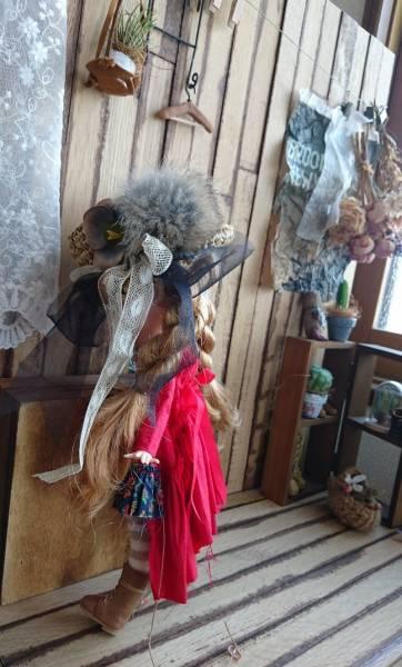 *ayudoll blythe dress*「レッドドレスセット」カンカン帽子 サロペット 赤 ワンピース_画像3