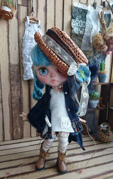 *ayudoll blythe dress*「ネイビードレスセット」カンカン帽 ワンピース サロペット 濃紺 ホワイト_画像3
